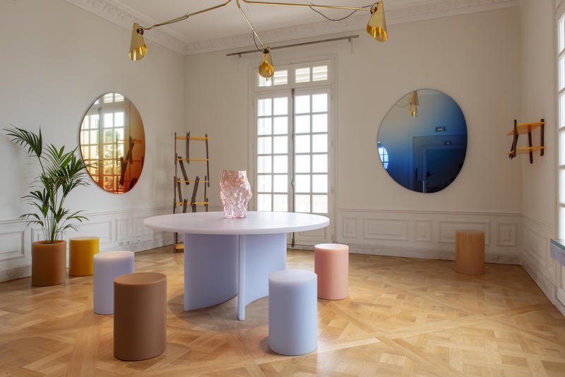 Etage Projects featuring the new SOAP table by Sabine Marcelis in ice-lavender; photo by Studio Vedet / Giulia Piermartiri