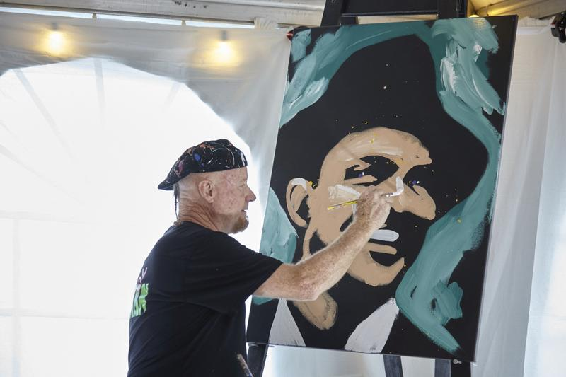 Dale Henry Paints Portrait of Frank Sinatra at ESQUIRE Launch Event; courtesy Fine Furniture Design