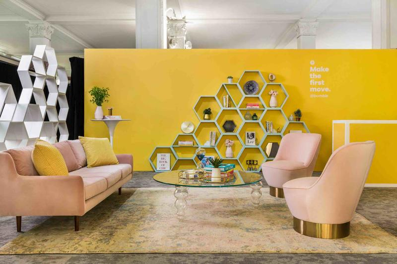 The Homepolish-designed space for the Bumble dating app pop-up, held at Saks Fifth Avenue in New York; courtesy Homepolish