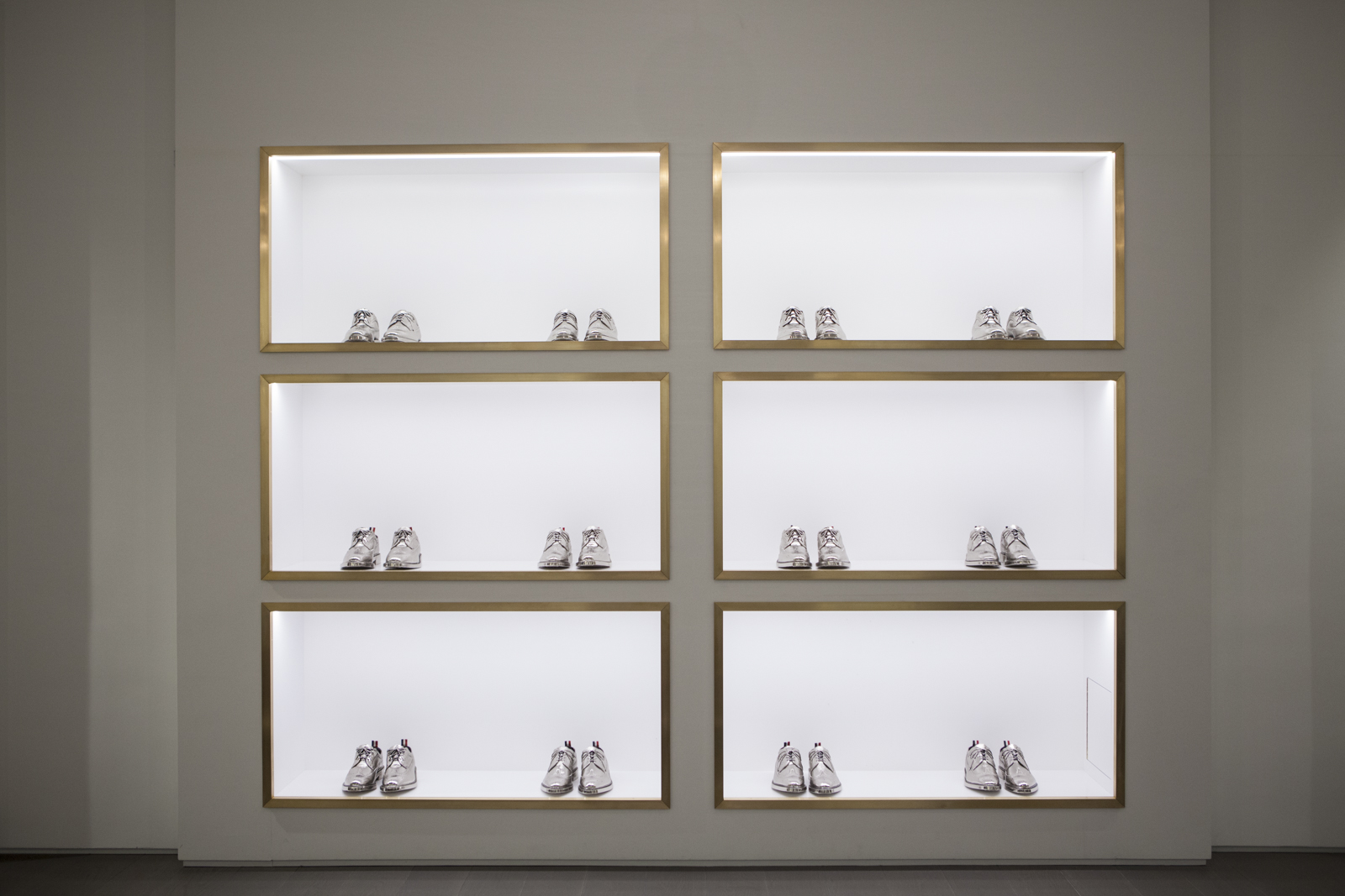 Silver shoe display
