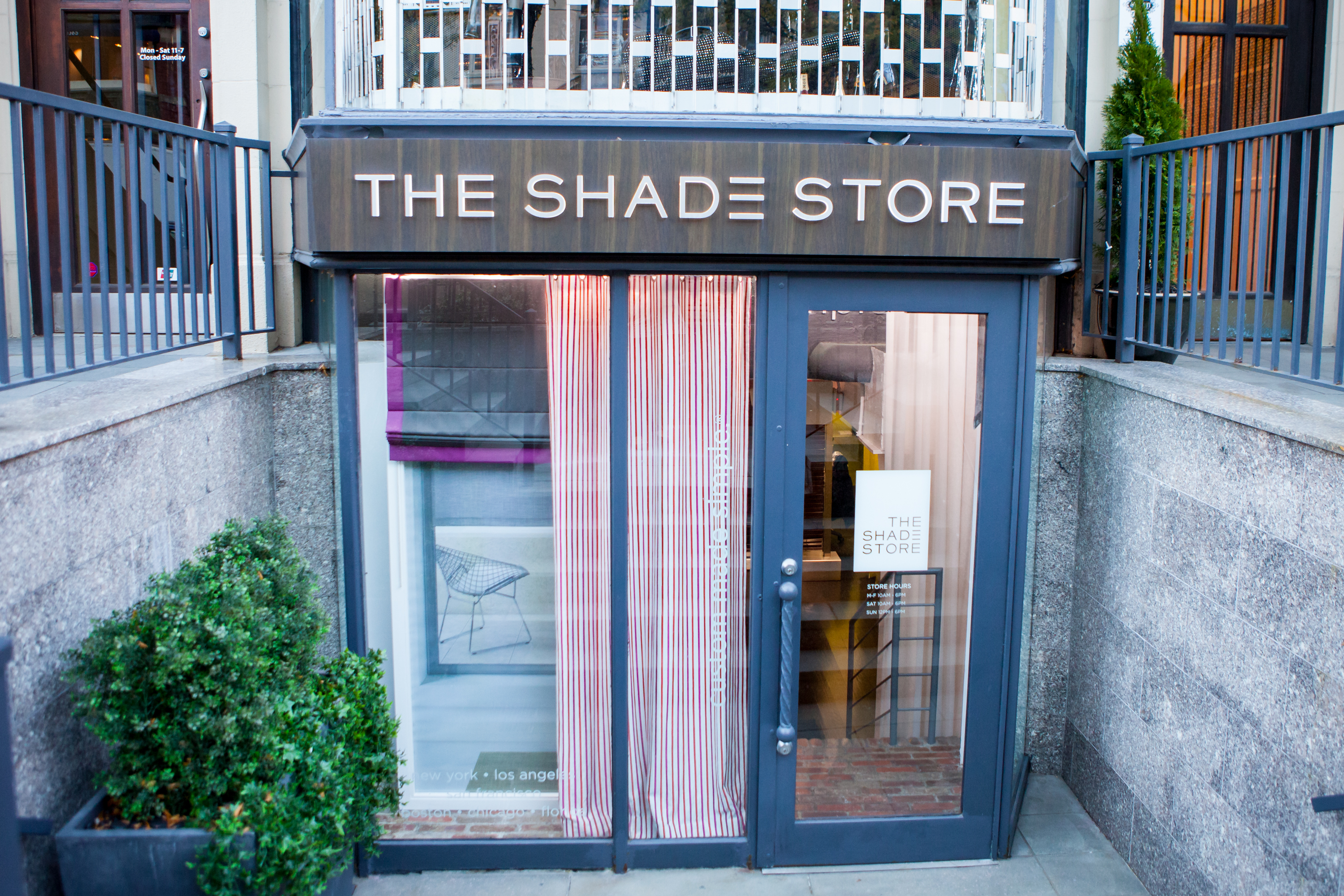 The storefront of The Shade Store in Boston