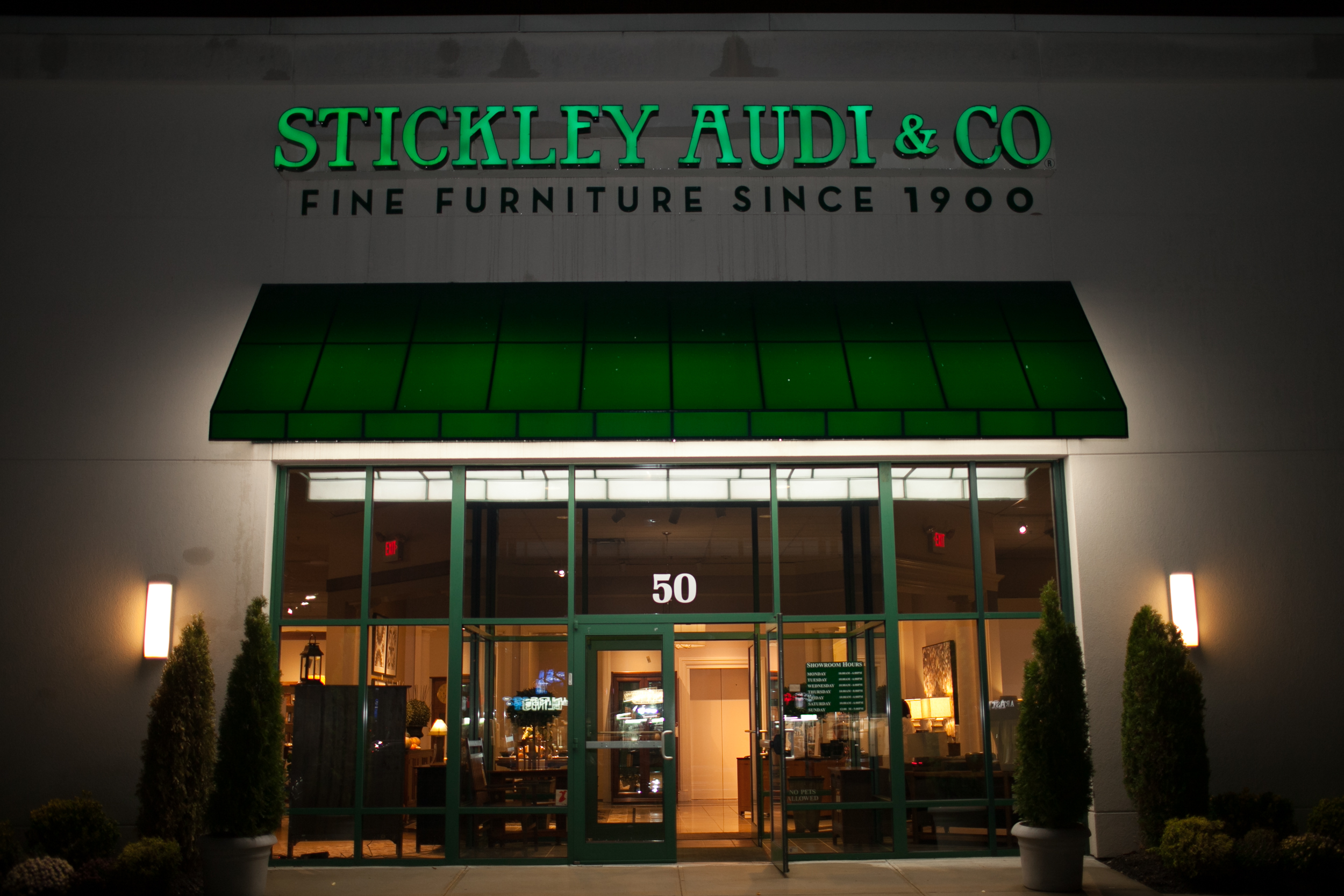 The White Plains storefront of Stickley Audi & Co.