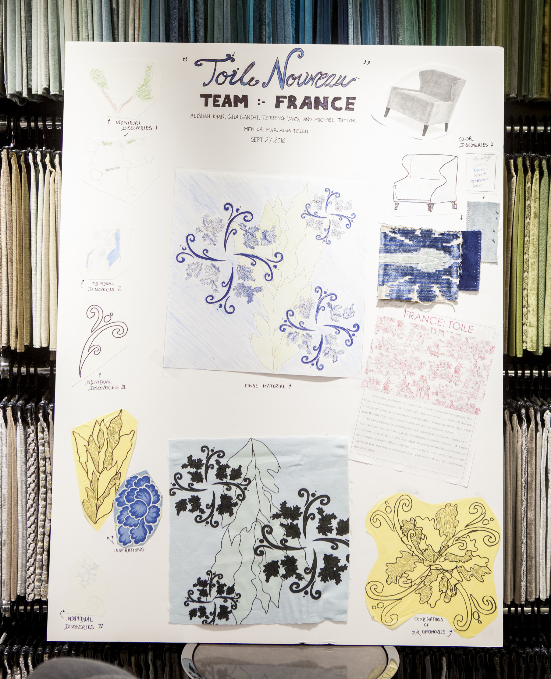 The first runner-up design board: Toile Nouveau by Team France