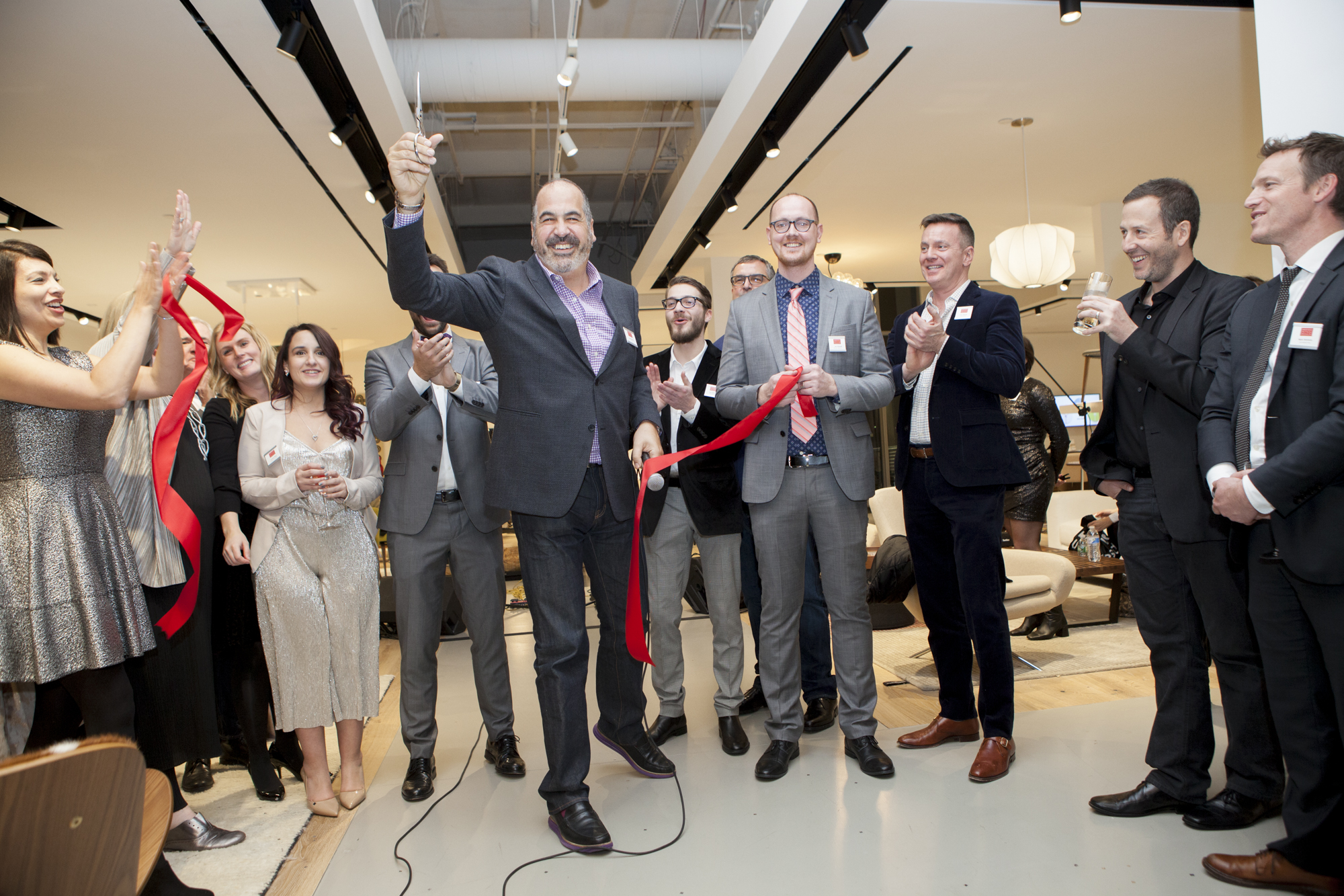 The ribbon-cutting ceremony for the new showroom