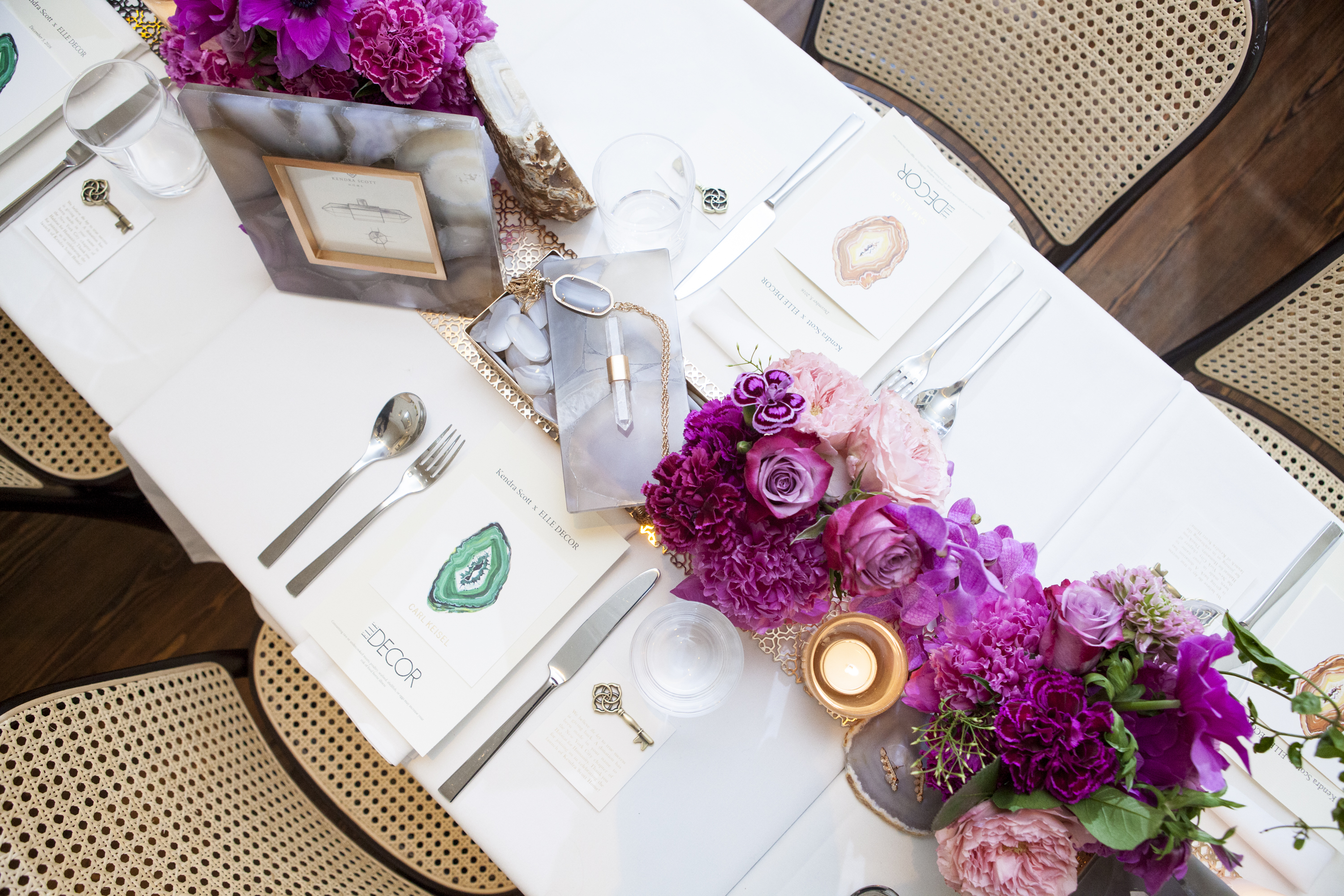 Bird's-eye view of the table setting
