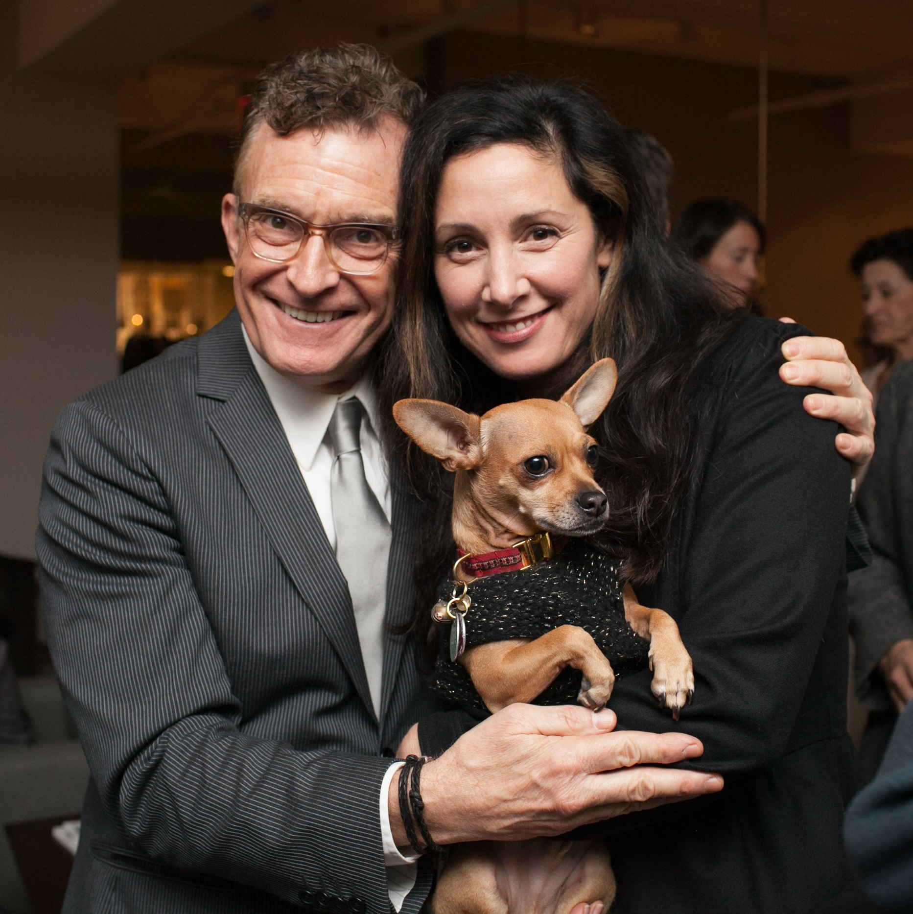 Glenn Gissler with Laura Kirar and the pup Michu