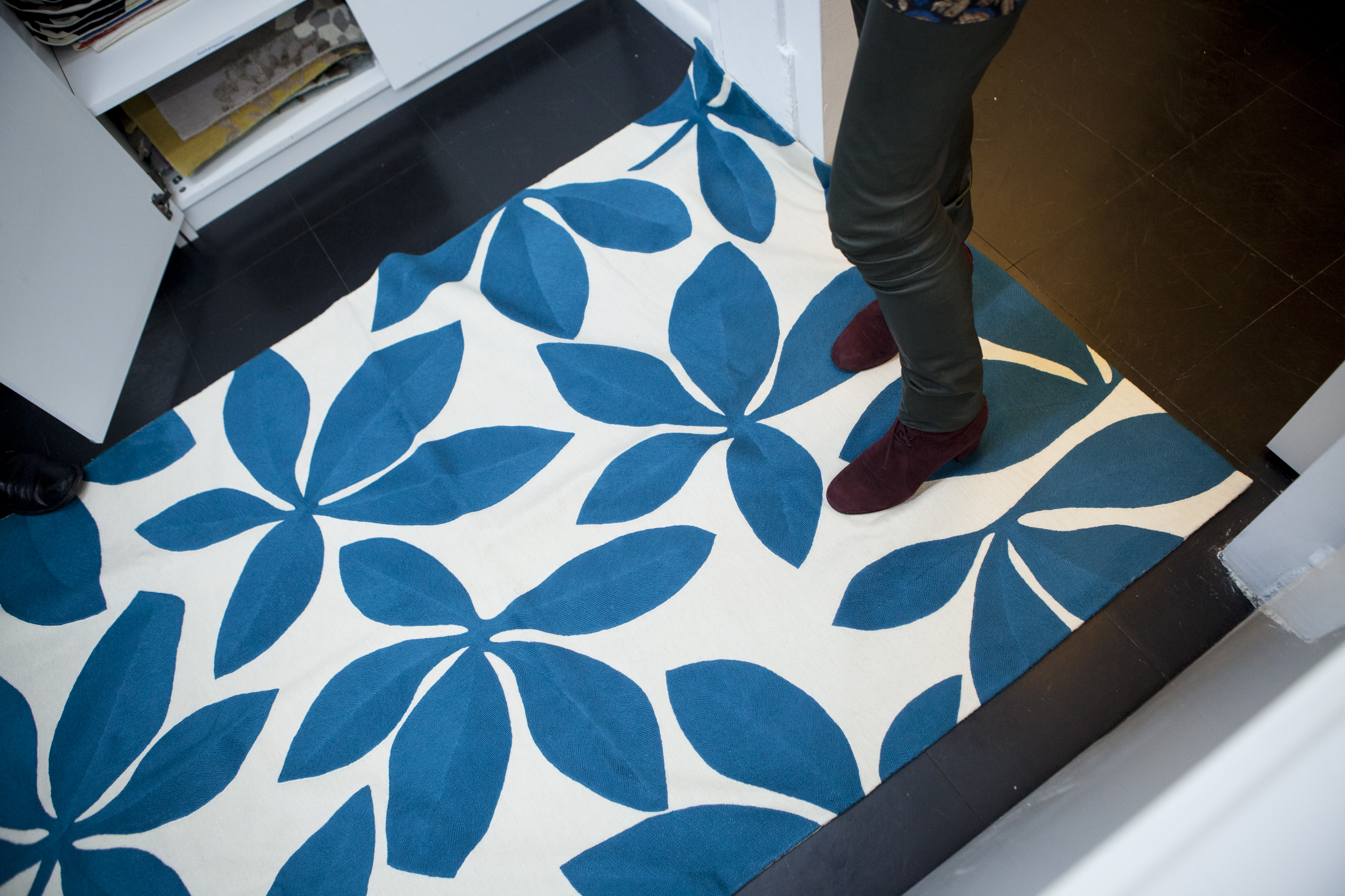 A hand-knotted rug in a vibrant and bold print