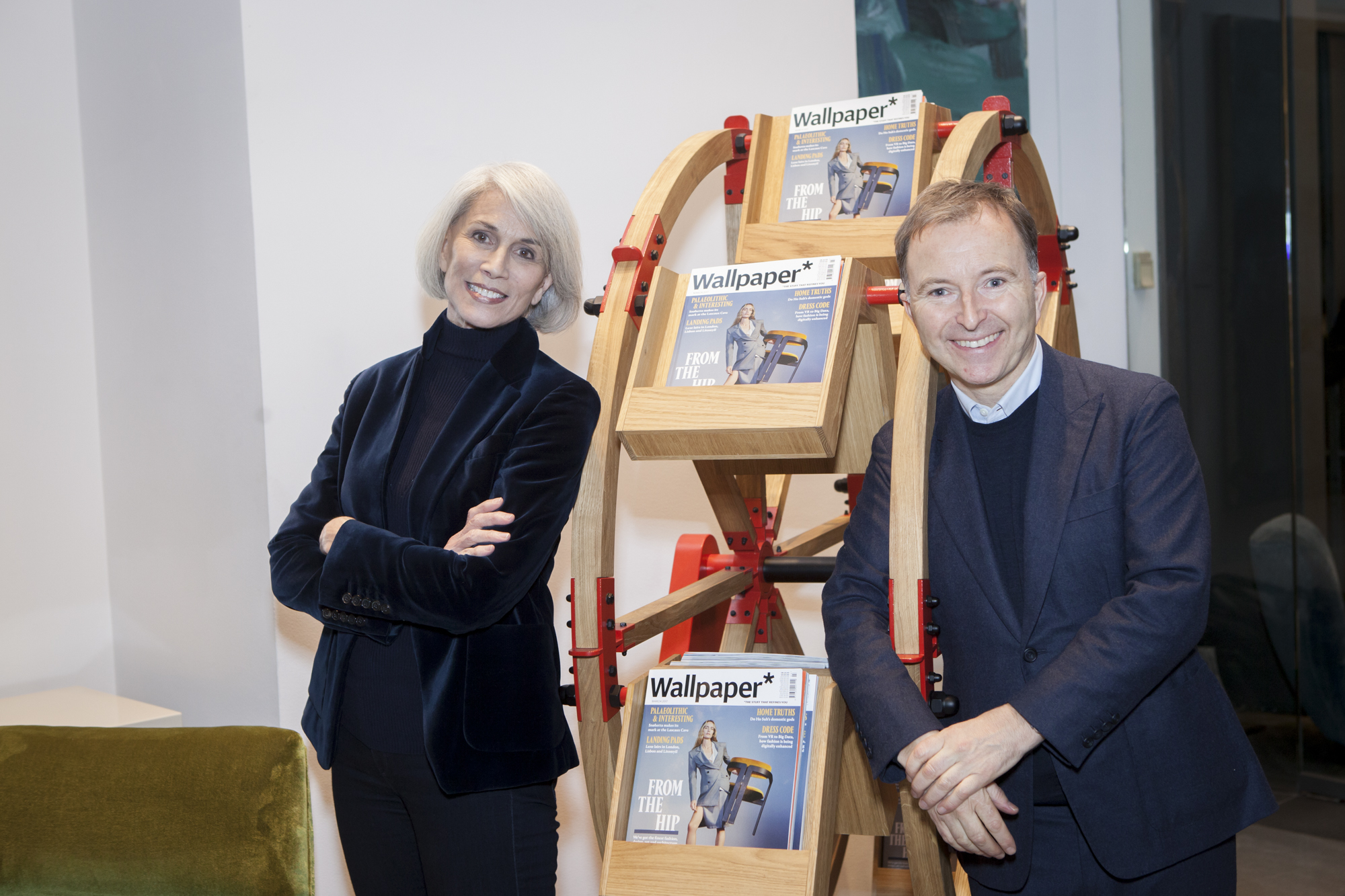 Holly Hunt and Tony Chambers with The Wheel, designed by Vladimir Kagan