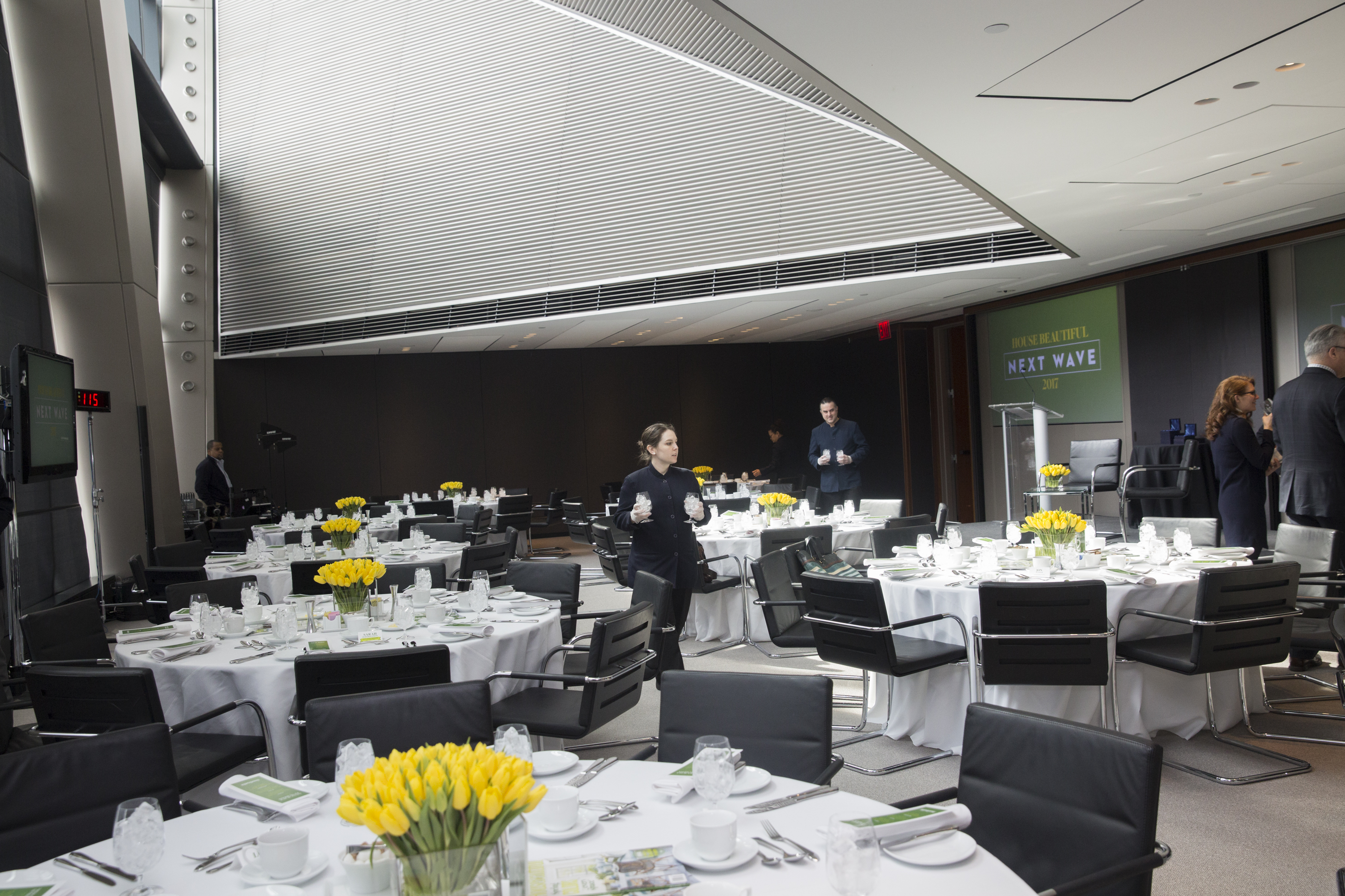 The 44th floor of Hearst Tower set up for the luncheon