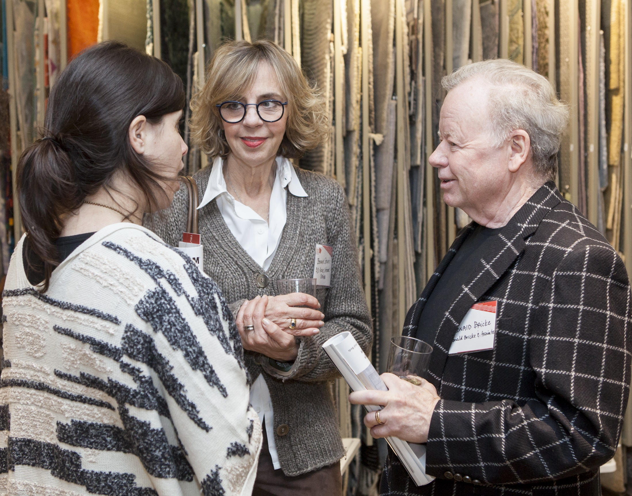 Danielle McWilliams, communications director of ASID NY Metro, chats with Bonnie Steves, BJS Assoc Interior Design, and Ronald Bricke, Ronald Bricke and Associates.