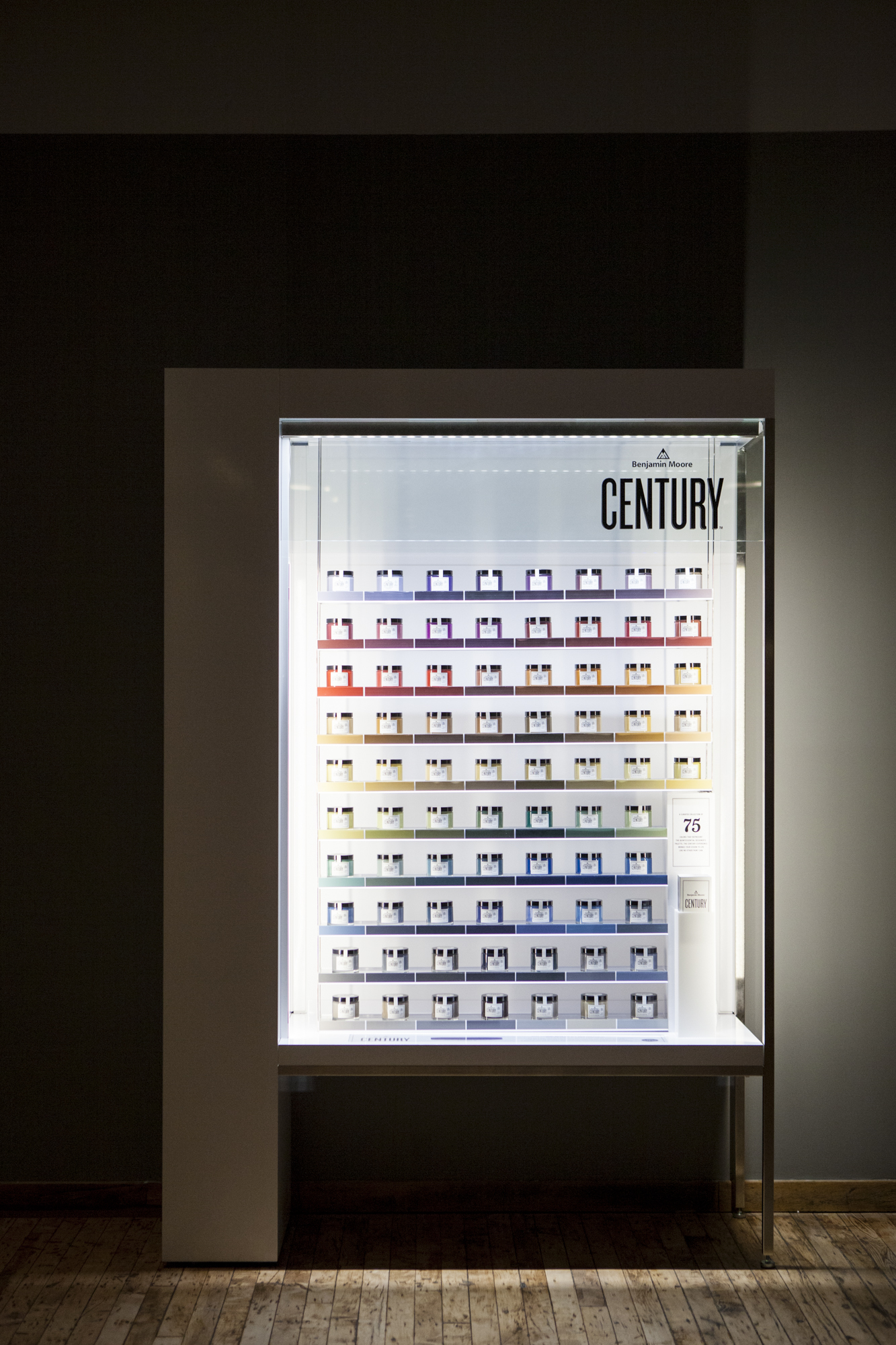 This in-store color display features all 75 new hues from the CENTURY palette.