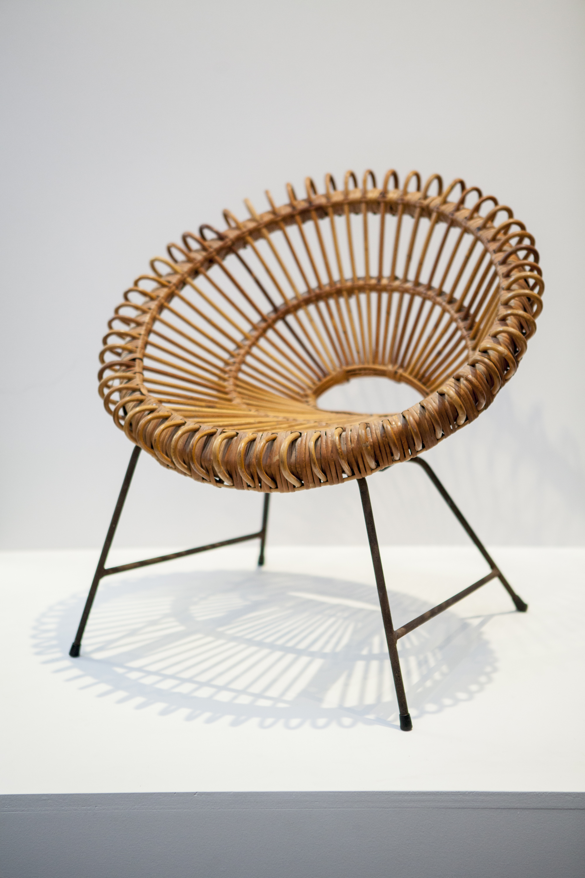 A vintage 1950s Italian Round Rattan Albini Chair