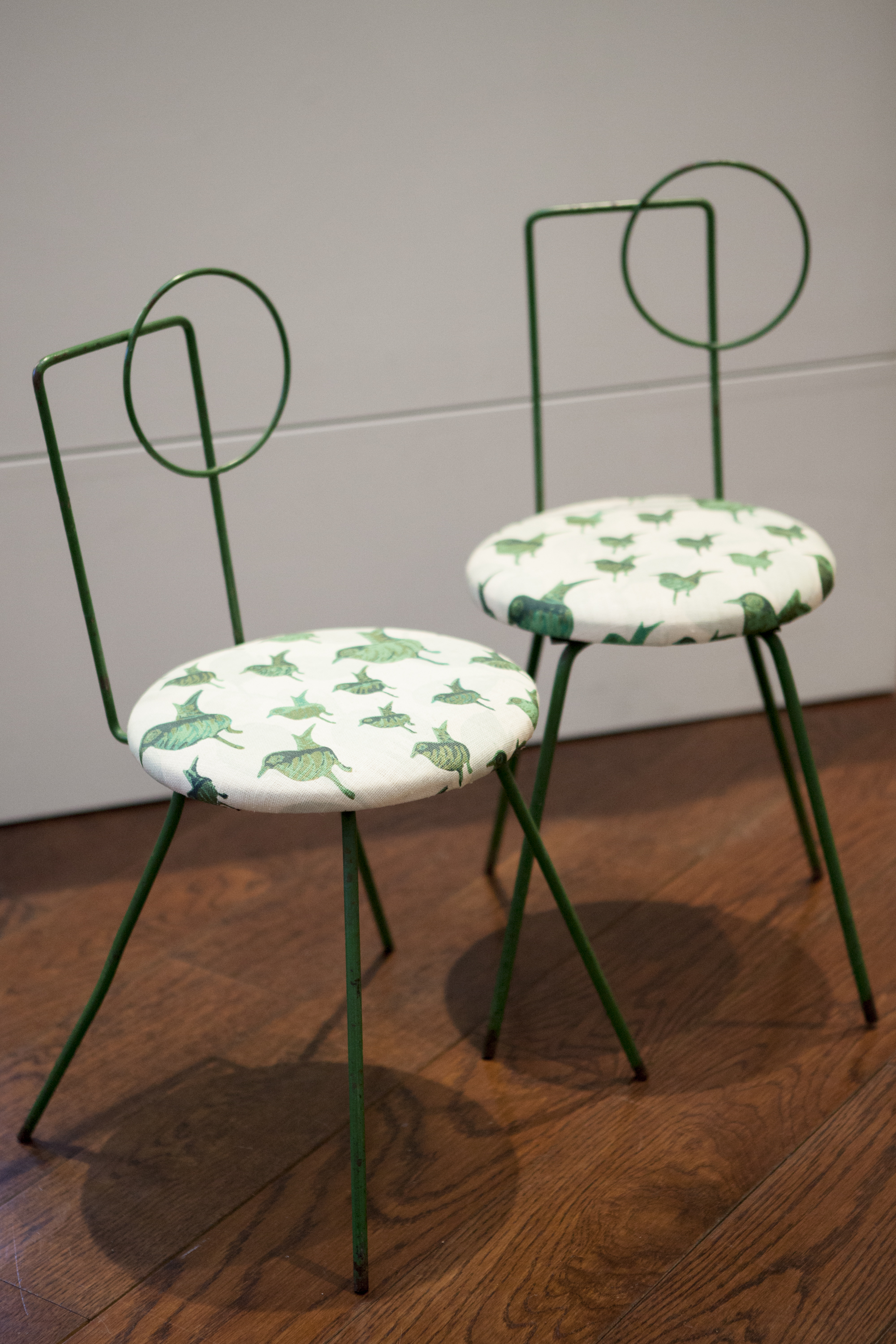 An adorably chic pair of vintage Green Iron Modernist Chairs (c. 1930)