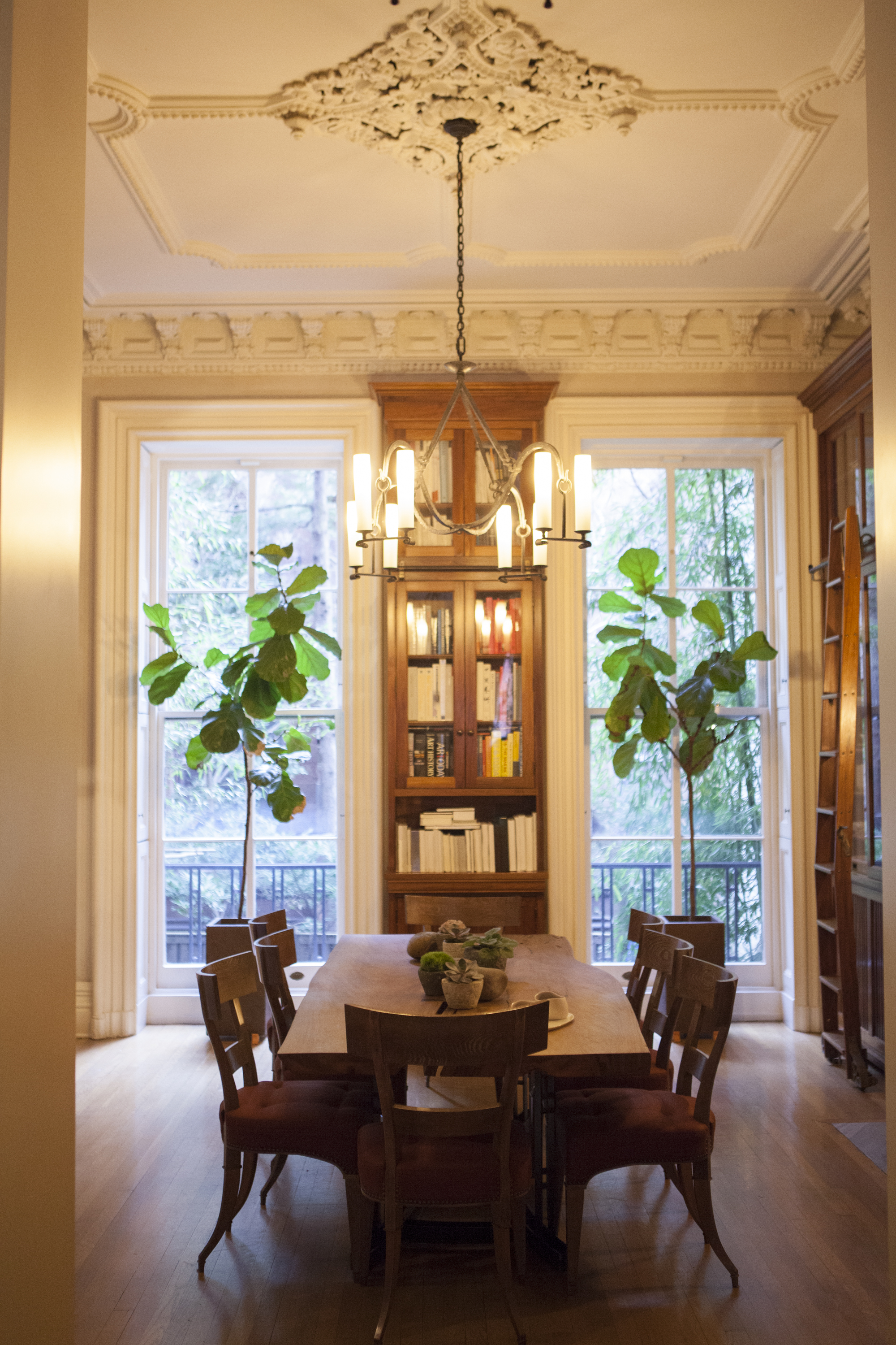 A grand dining room flanks the living room.