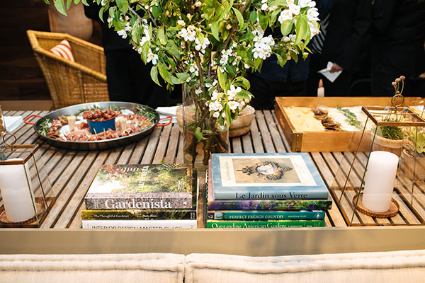 Table and books in showroom