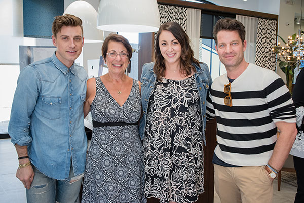 Jeremiah Brent with a guest, Samantha Cuello and Nate Berkus