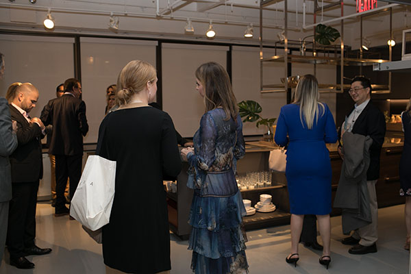 Guests mingling in the space