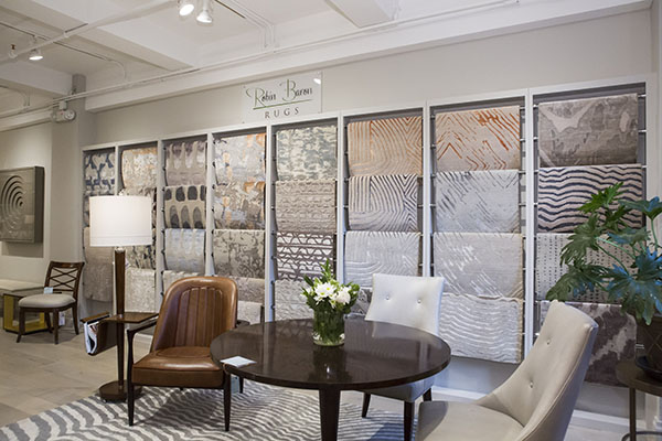 Robin Baron Rug Collection shown in Theodore Alexander showroom