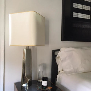 Laurel nickel lamp with custom shade x2