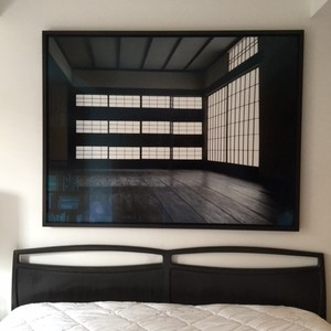 Leather-wrapped king bedframe & Scandi headboard