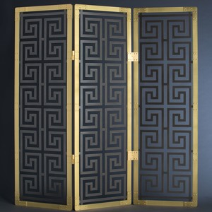 Plinth & Co Brass and Steel 4-Panel Folding Screen