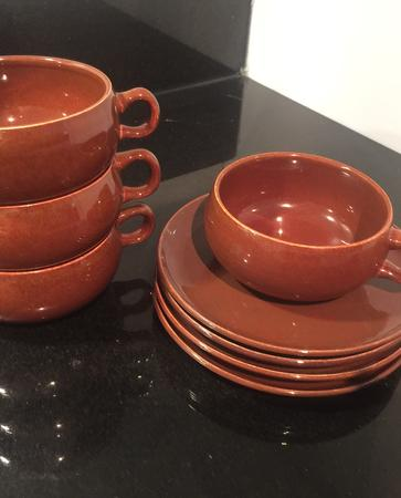 Russel Wright American Modern Cup & Saucer sets in Bean Brown