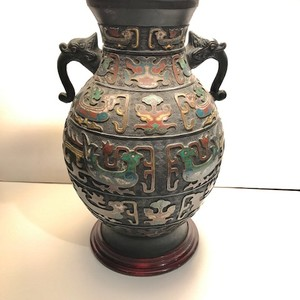 Unusual Chinese bronze vase, mounted & electrified