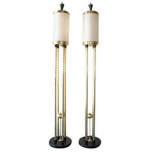 Pair Brass Torchiere