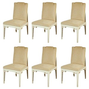 Set of Six Faux Parchment Dining Chairs