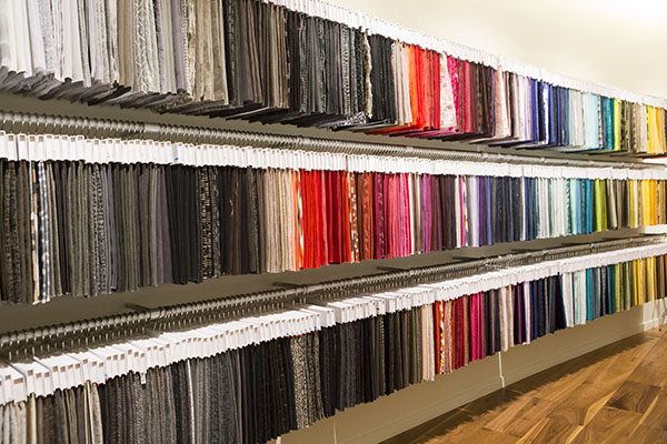 Fabric on display in the showroom