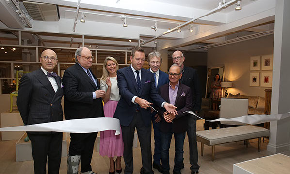Ric Watts, showroom manager; Jim Druckman, president and CEO of the New York Design Center; Tori Mellott, Traditional Home senior design and markets editor; Neill Robinson, president of Theodore Alexander; Leigh Keno; Michael Berman; and Jamie Drake