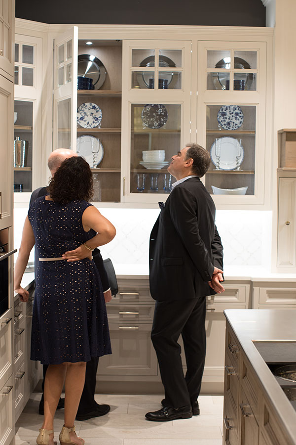 Amanda Eden and Chris Agostinelli view the new Wood-Mode Edison Heights collection.