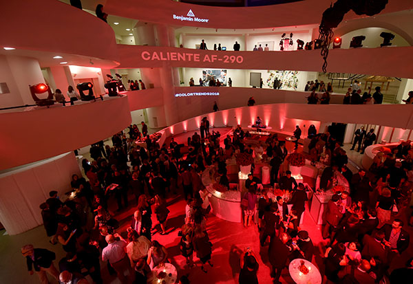Guests mingle throughout the Guggenheim Museum.