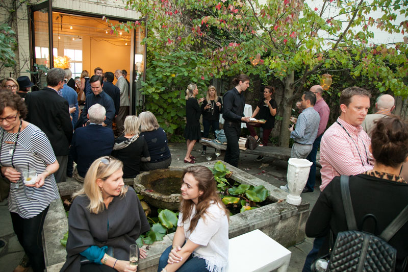 Guests mingled and sipped cocktails in the Oly garden.