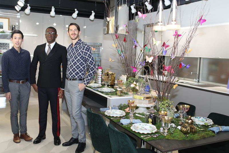 Designer Rayman Boozer (center) with design assistants Jacky Chen and Kevan Miller