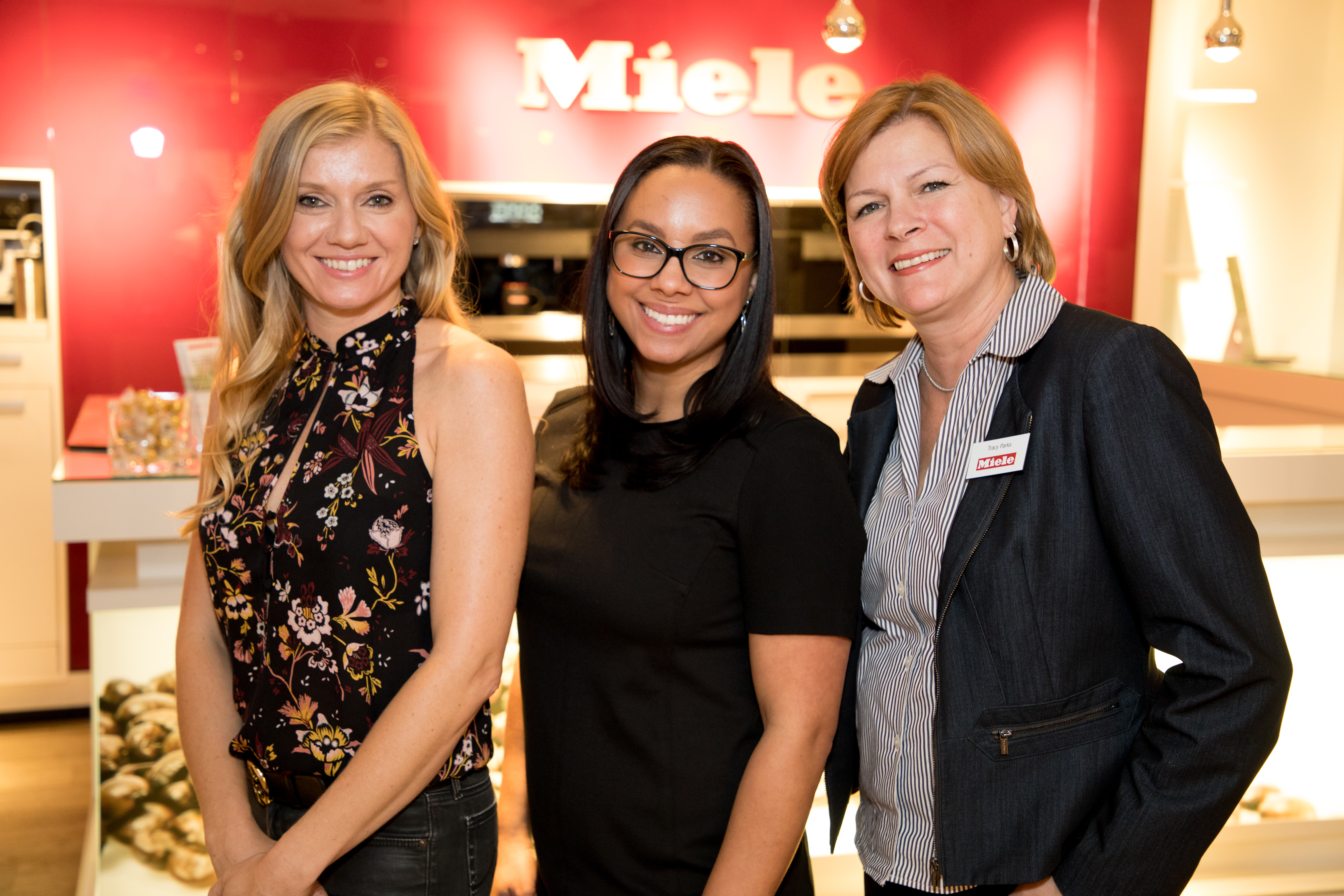 Interior designer Ohara Davies-Gaetano with Miele's Monique Robinson and Tracy Parks