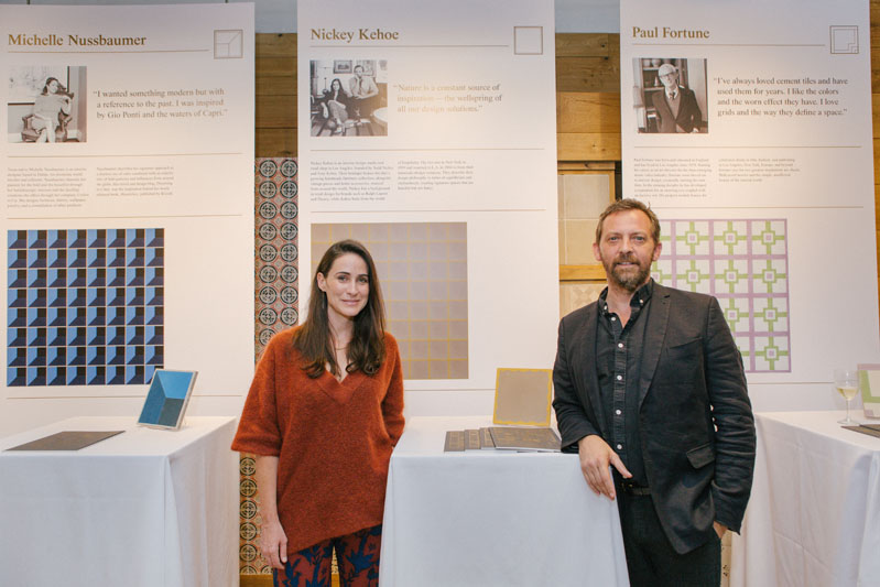 Amy Kehoe and Todd Nickey of Nickey Kehoe in front of their tile design