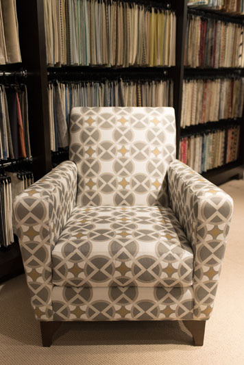 The Beaux Arts team's winning design, upholstered on a Kravet armchair