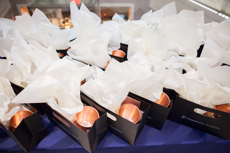 Every guest received a gift bag including a copper mug. and bracelet.