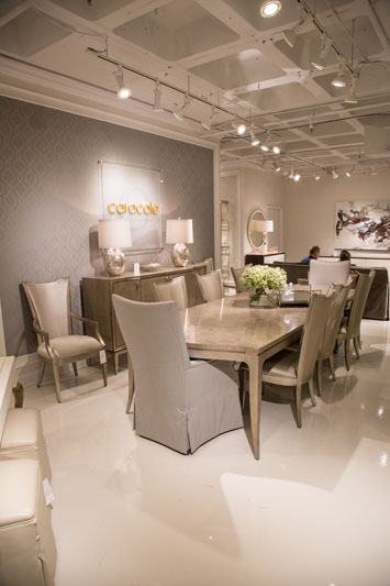 Caracole's Silver Platter dining table and dining chairs