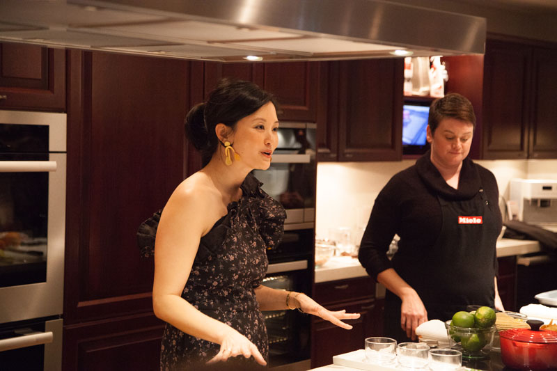 Catherine Kwong and Stephanie Bone prepare two dishes in the Miele kitchen.