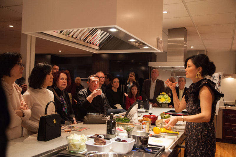 Catherine Kwong demonstrates a dish.
