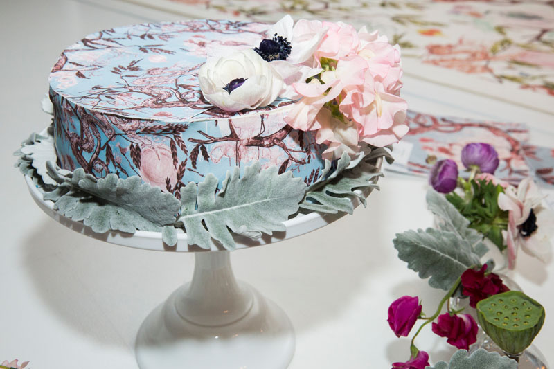 Custom cake in the Good Fortune print, by Chefanie