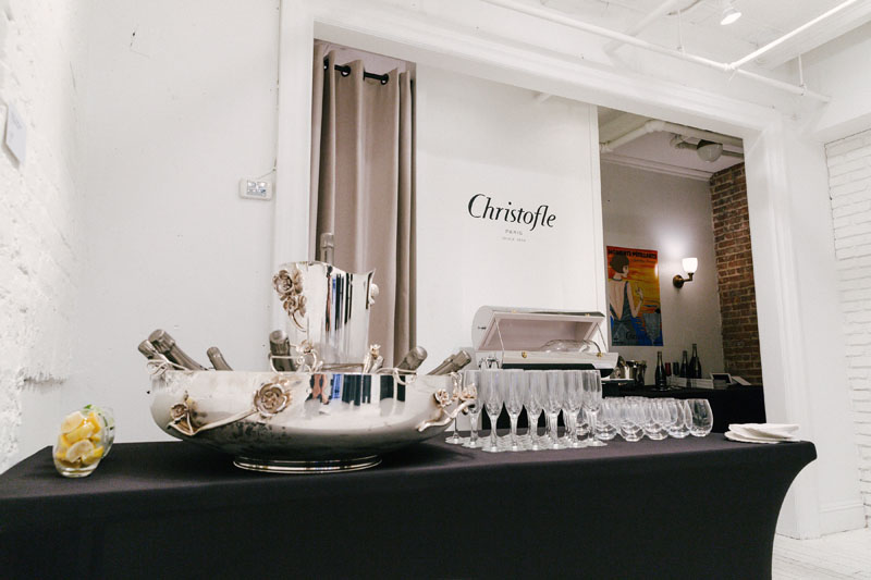 Refreshments in the Christofle showroom