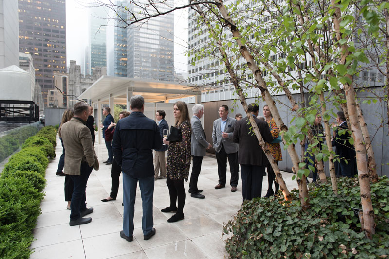 Guests mingle on the Philip Johnson Terrace.