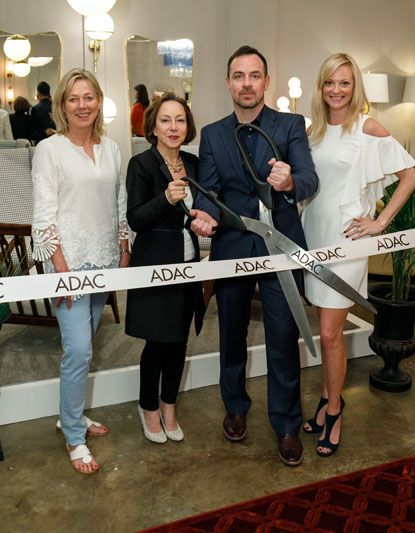 Kim Johnson, Regina Gibbs, Mike Gibbs, and Katie Miner celebrate the ribbon cutting for Dolce Decor's new showroom at ADAC.