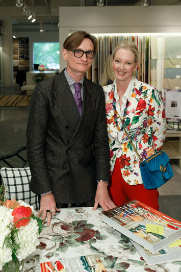 Hamish Bowles, international editor at large for Vogue, signs his latest book, 'Vogue Living: Country, City, Coast' for designer Danielle Rollins at Schumacher.