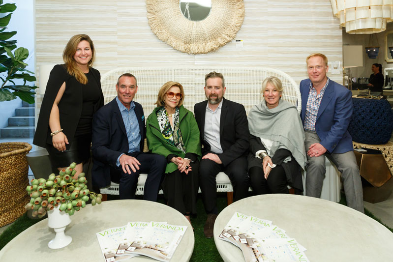 Showroom manager Kayte Granick, designers Brian McCarthy and Suzanne Rheinstein, Veranda's Clinton Smith and Carolyn Englefield, and Made Goods founder Chris DeWitt at the grand opening of the Made Goods Atlanta showroom