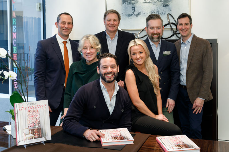 Veranda's David Hamilton, Carolyn Englefield, and Clinton Smith and the Jerry Pair team, including owner Dan Cahoon, marketing director Courtney Hardage, and showroom manager Stephen Boyd, celebrate the book signing of Mario-López Cordero's 'Decorating.'
