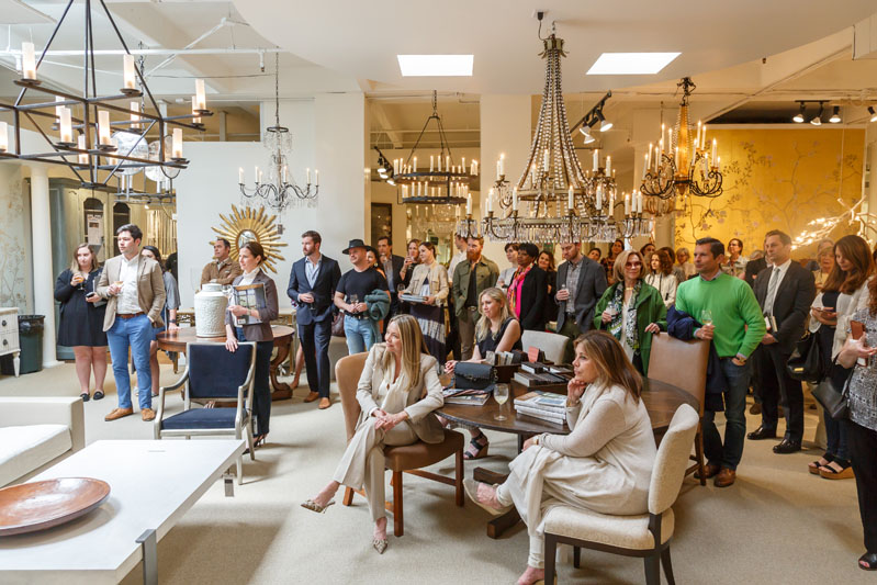 Design ADAC guests gather in the Ainsworth-Noah showroom for Ray Booth's inspiring talk and book signing of 'Evocative Interiors.'